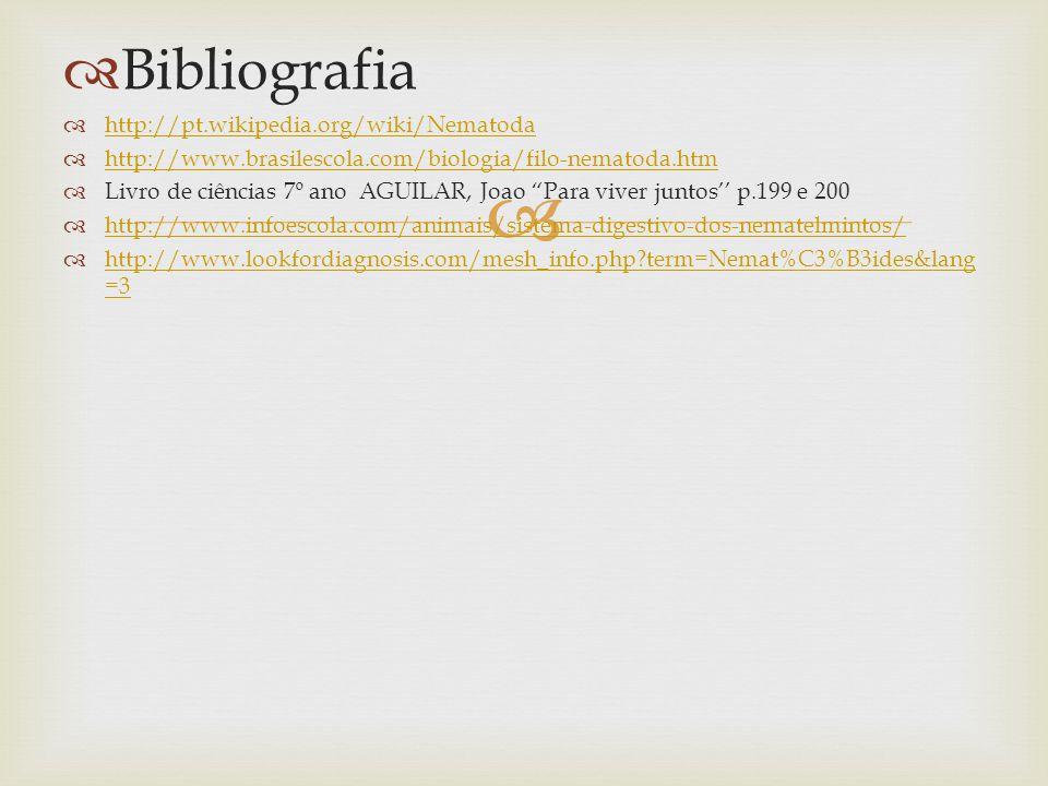 Bibliografia http://pt.wikipedia.org/wiki/Nematoda http://www.brasilescola.com/biologia/filo-nematoda.htm Livro de ciências 7º ano AGUILAR, Joao Para viver juntos p.199 e 200 http://www.infoescola.com/animais/sistema-digestivo-dos-nematelmintos/ http://www.lookfordiagnosis.com/mesh_info.php?term=Nemat%C3%B3ides&lang =3 http://www.lookfordiagnosis.com/mesh_info.php?term=Nemat%C3%B3ides&lang =3