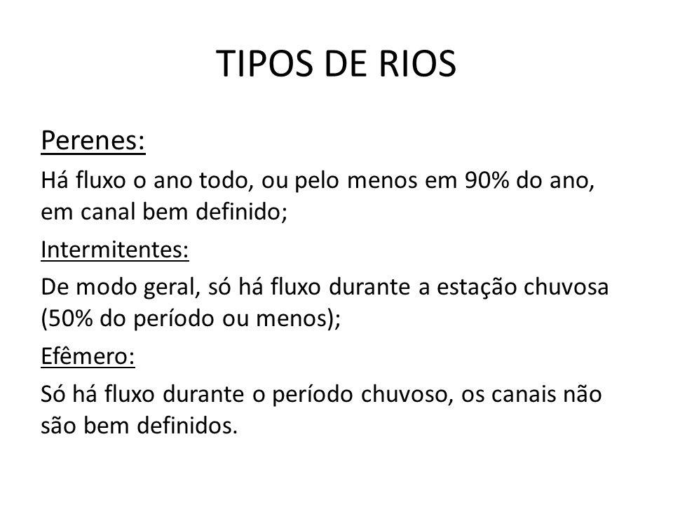 TIPOS DE RIOS Perenes: Há fluxo o ano todo, ou pelo menos em 90% do ano, em canal bem definido; Intermitentes: De modo geral, só há fluxo durante a es