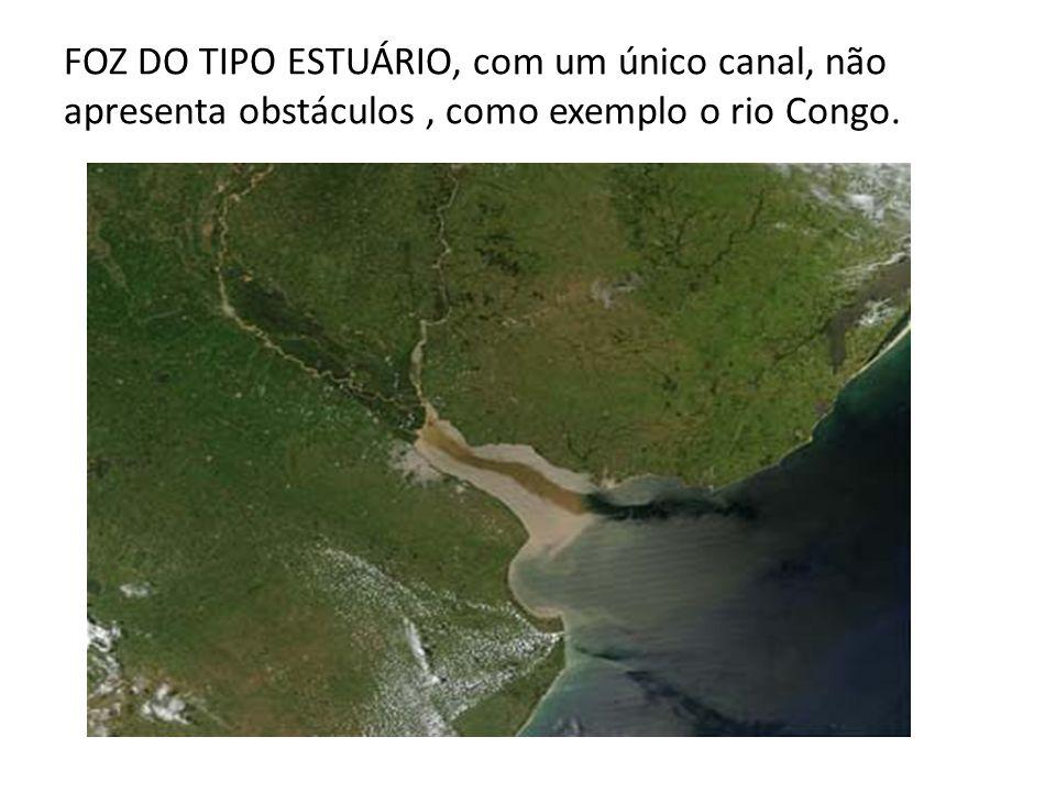 FOZ DO TIPO ESTUÁRIO, com um único canal, não apresenta obstáculos, como exemplo o rio Congo.