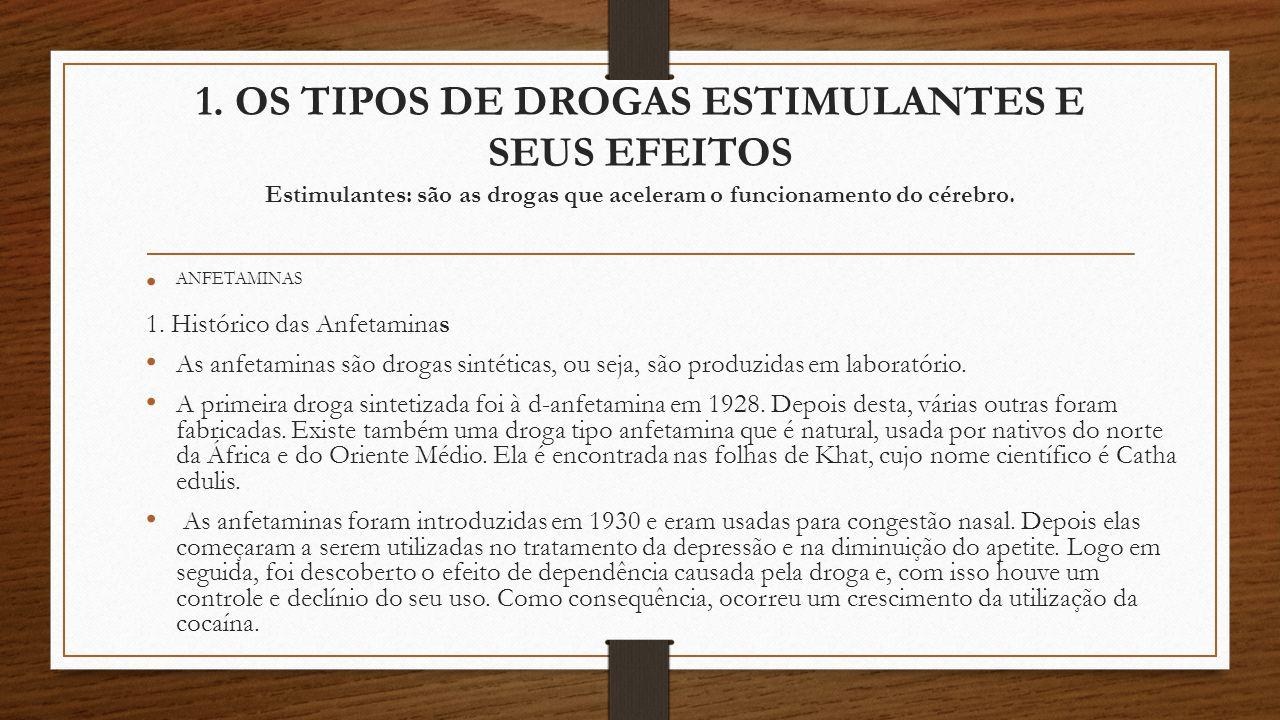 1. OS TIPOS DE DROGAS ESTIMULANTES E SEUS EFEITOS Estimulantes: são as drogas que aceleram o funcionamento do cérebro. ANFETAMINAS 1. Histórico das An