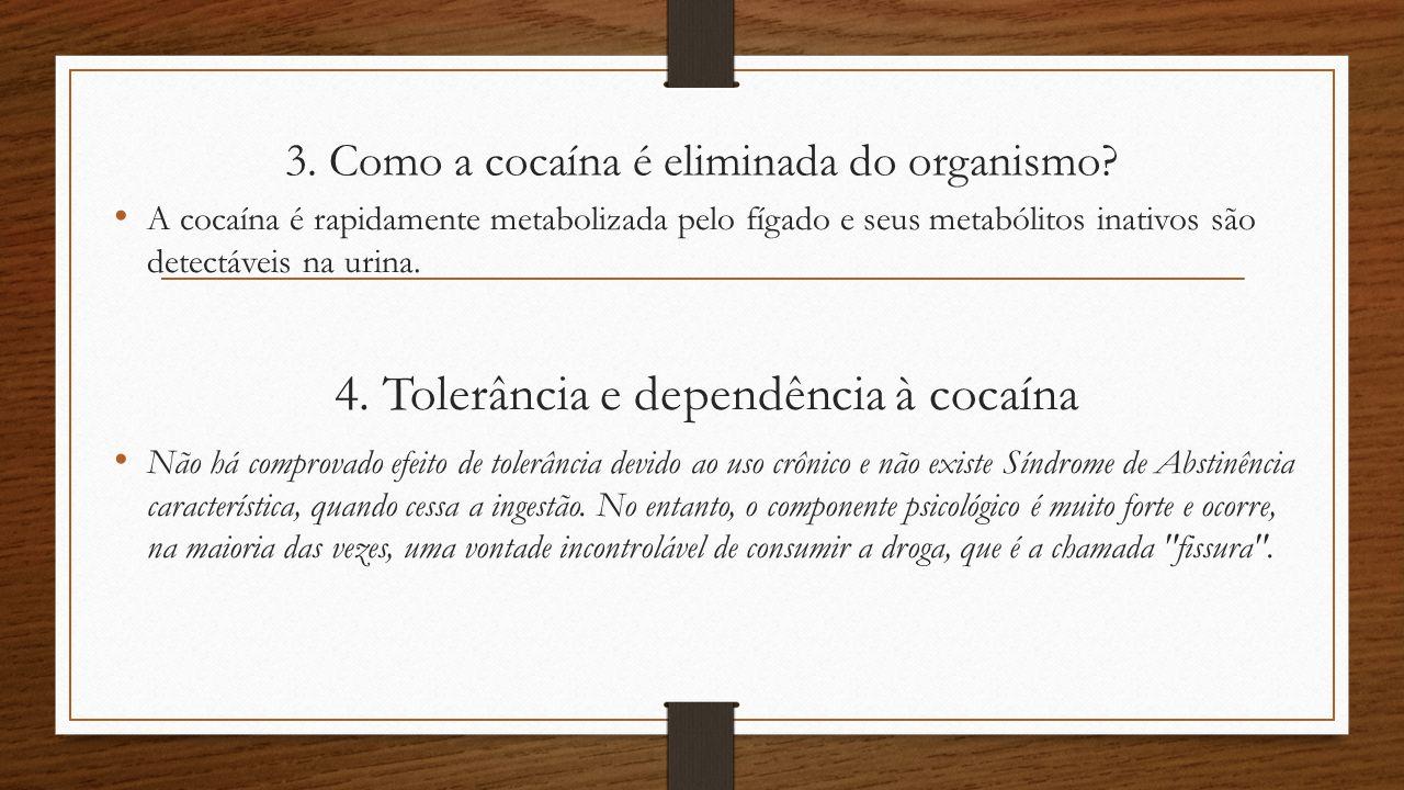 3. Como a cocaína é eliminada do organismo? A cocaína é rapidamente metabolizada pelo fígado e seus metabólitos inativos são detectáveis na urina. 4.