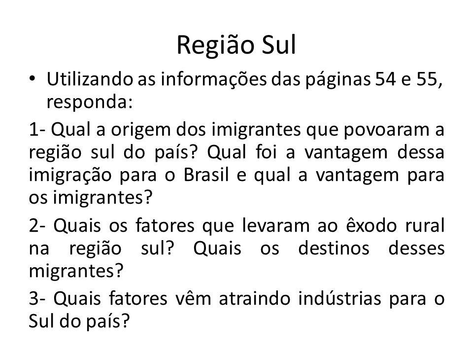 Região Sul Utilizando as informações das páginas 54 e 55, responda: 1- Qual a origem dos imigrantes que povoaram a região sul do país.
