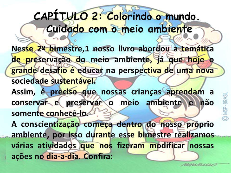 CAPÍTULO 2: Colorindo o mundo. Cuidado com o meio ambiente Nesse 2º bimestre,1 nosso livro abordou a temática de preservação do meio ambiente, já que