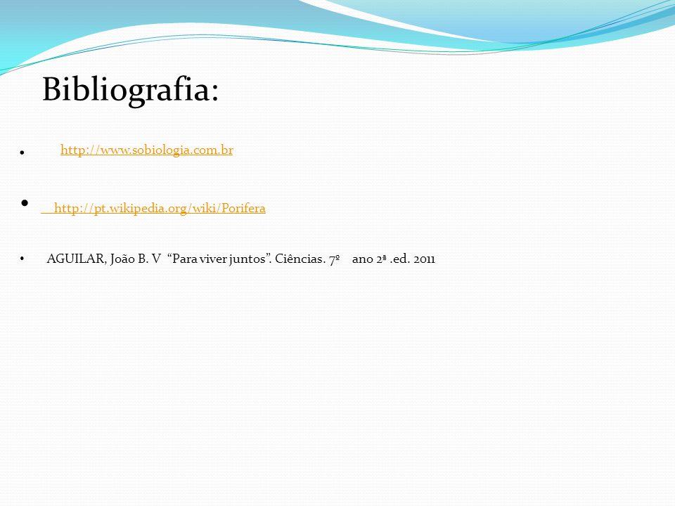 Bibliografia: http://pt.wikipedia.org/wiki/Porifera http://pt.wikipedia.org/wiki/Porifera AGUILAR, João B. V Para viver juntos. Ciências. 7º ano 2ª.ed