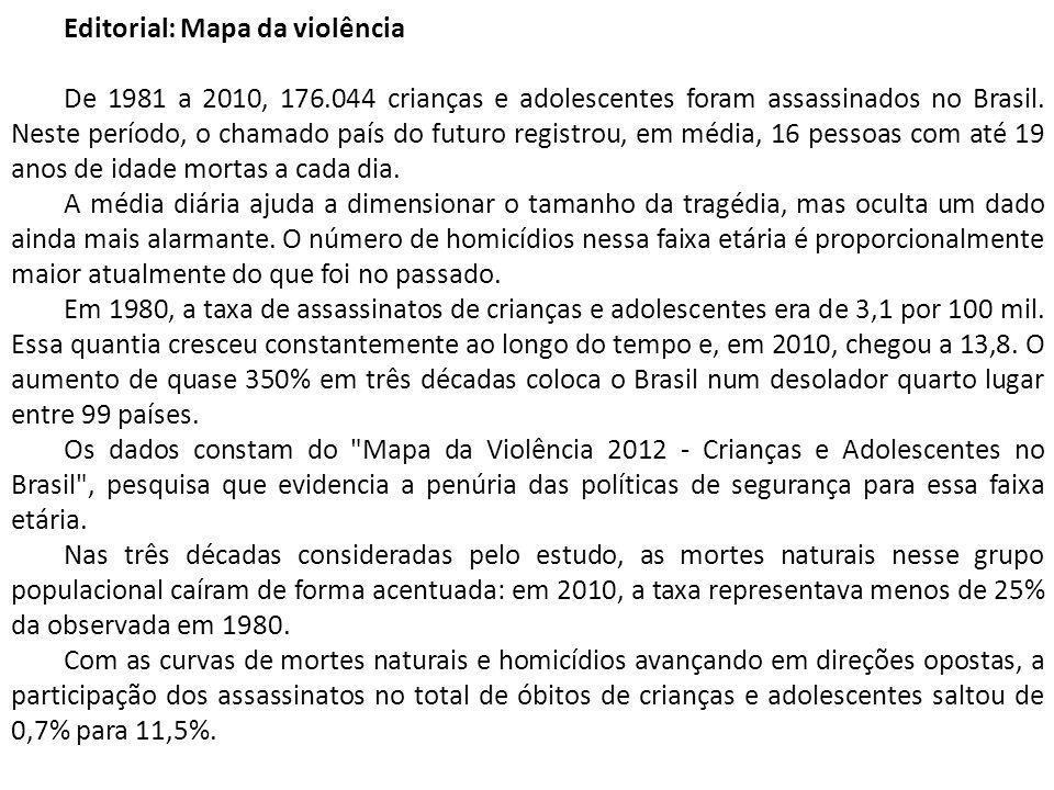 Editorial: Mapa da violência De 1981 a 2010, 176.044 crianças e adolescentes foram assassinados no Brasil.