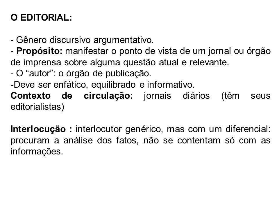 O EDITORIAL: - Gênero discursivo argumentativo. - Propósito: manifestar o ponto de vista de um jornal ou órgão de imprensa sobre alguma questão atual