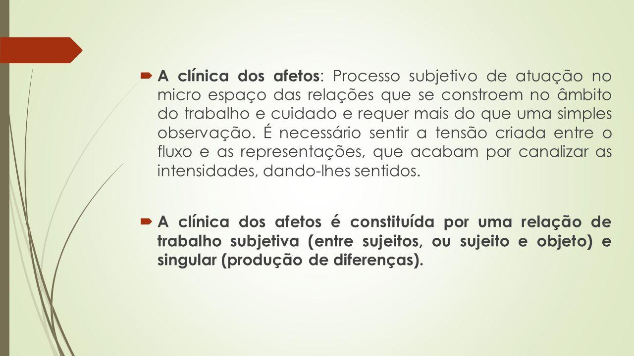 A clínica dos afetos : Processo subjetivo de atuação no micro espaço das relações que se constroem no âmbito do trabalho e cuidado e requer mais do qu