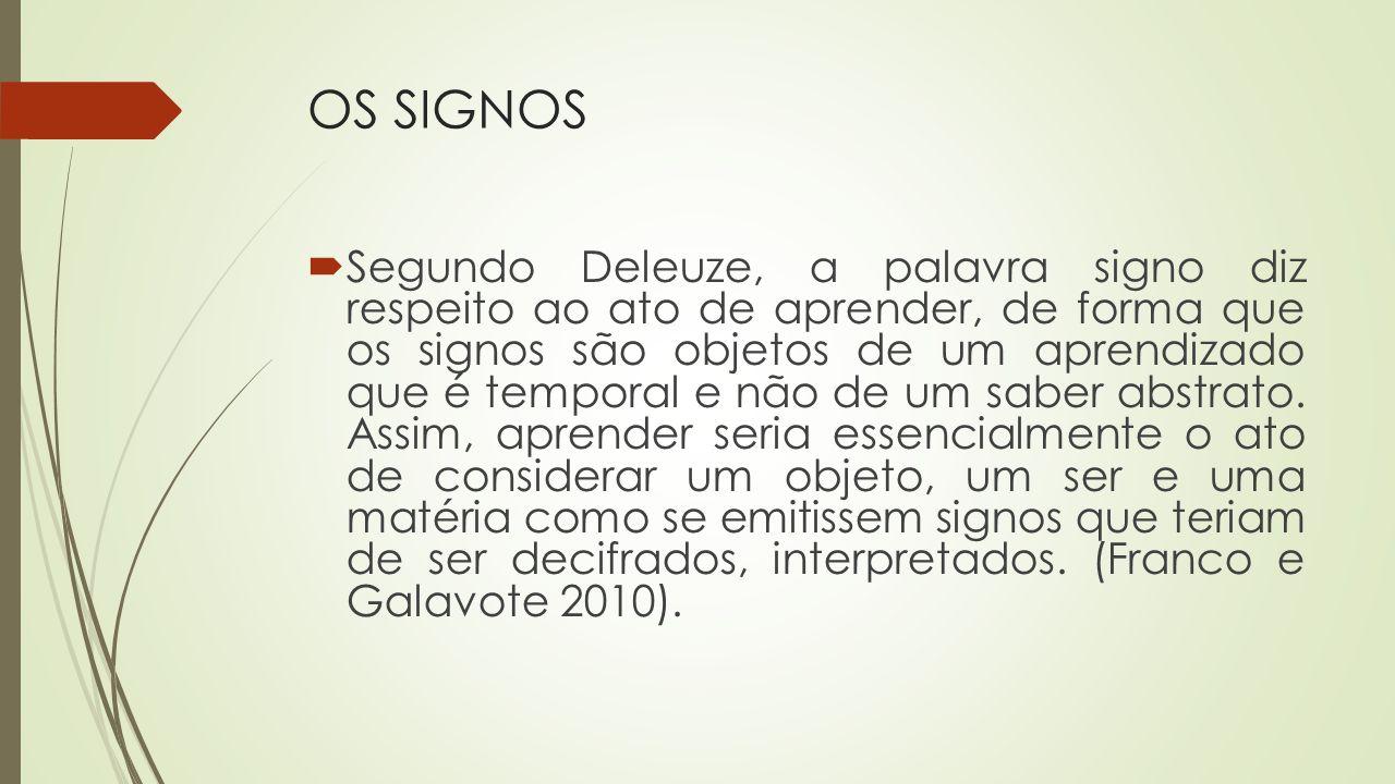 OS SIGNOS Segundo Deleuze, a palavra signo diz respeito ao ato de aprender, de forma que os signos são objetos de um aprendizado que é temporal e não