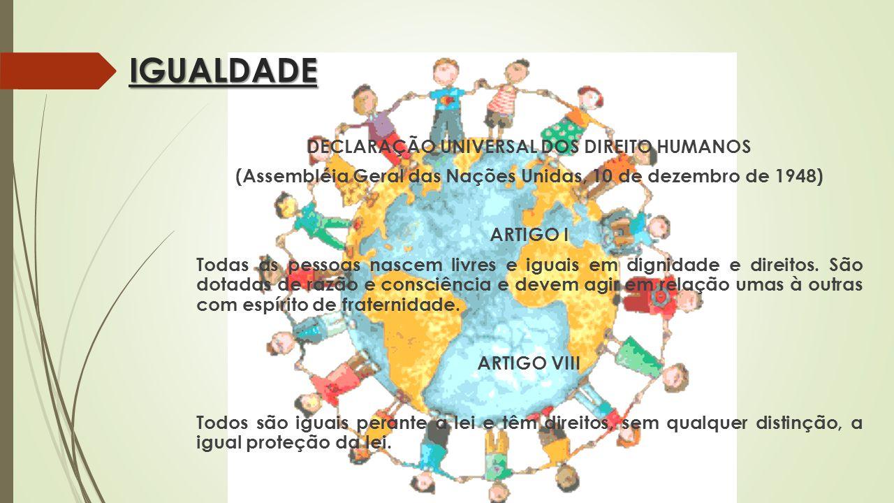 IGUALDADE DECLARAÇÃO UNIVERSAL DOS DIREITO HUMANOS (Assembléia Geral das Nações Unidas, 10 de dezembro de 1948) ARTIGO I Todas as pessoas nascem livre