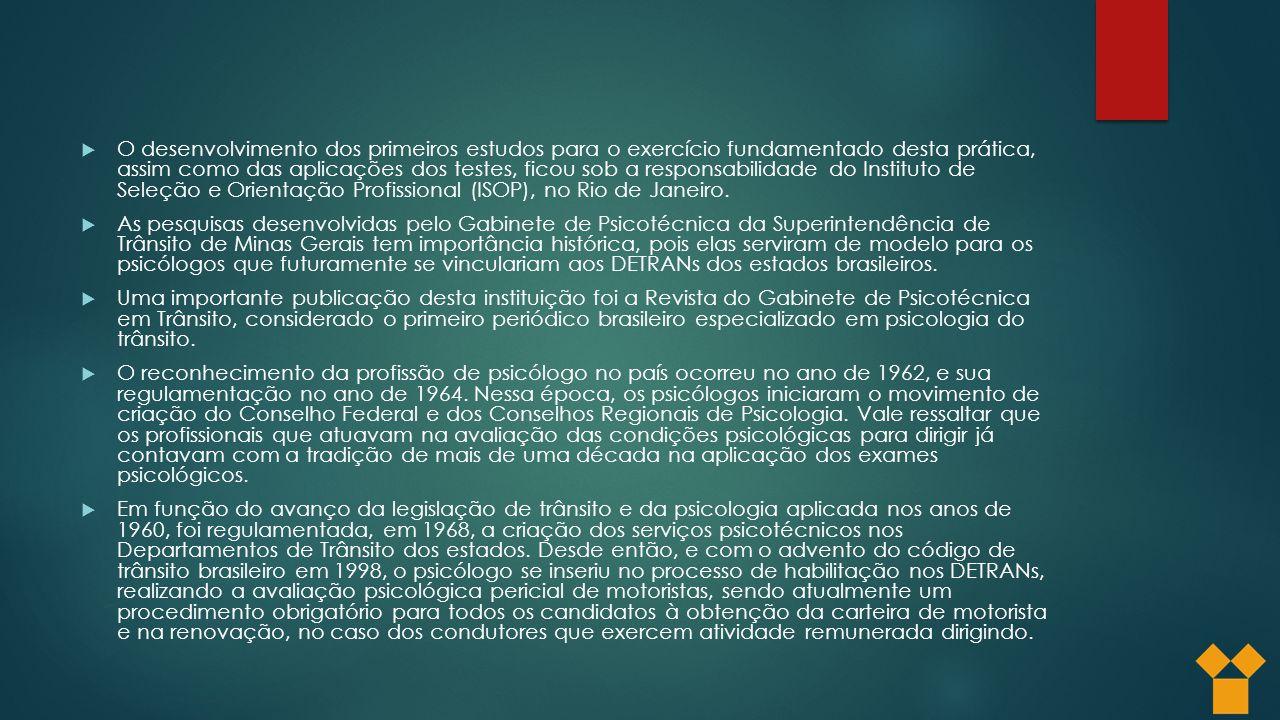 O desenvolvimento dos primeiros estudos para o exercício fundamentado desta prática, assim como das aplicações dos testes, ficou sob a responsabilidade do Instituto de Seleção e Orientação Profissional (ISOP), no Rio de Janeiro.