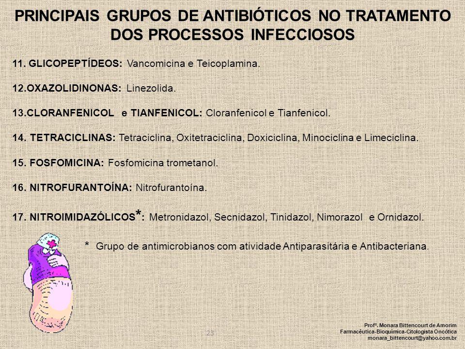 23 PRINCIPAIS GRUPOS DE ANTIBIÓTICOS NO TRATAMENTO DOS PROCESSOS INFECCIOSOS 11. GLICOPEPTÍDEOS: Vancomicina e Teicoplamina. 12.OXAZOLIDINONAS: Linezo