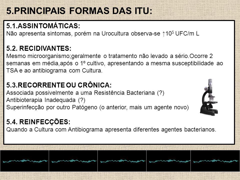 37 5.PRINCIPAIS FORMAS DAS ITU: 5.1.ASSINTOMÁTICAS: Não apresenta sintomas, porém na Urocultura observa-se 10 5 UFC/m L 5.2. RECIDIVANTES: Mesmo micro