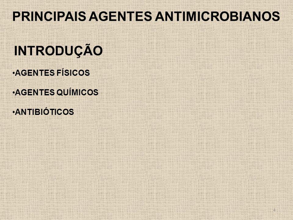 4 PRINCIPAIS AGENTES ANTIMICROBIANOS AGENTES FÍSICOS AGENTES QUÍMICOS ANTIBIÓTICOS INTRODUÇÃO