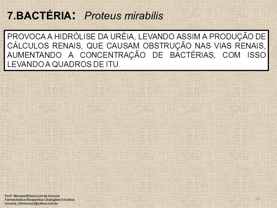 40 7.BACTÉRIA : Proteus mirabilis PROVOCA A HIDRÓLISE DA URÉIA, LEVANDO ASSIM A PRODUÇÃO DE CÁLCULOS RENAIS, QUE CAUSAM OBSTRUÇÃO NAS VIAS RENAIS, AUM
