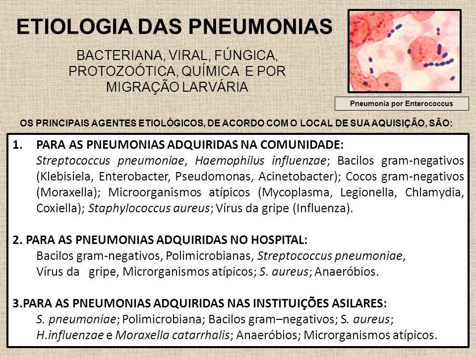 45 ETIOLOGIA DAS PNEUMONIAS BACTERIANA, VIRAL, FÚNGICA, PROTOZOÓTICA, QUÍMICA E POR MIGRAÇÃO LARVÁRIA Pneumonia por Enterococcus OS PRINCIPAIS AGENTES