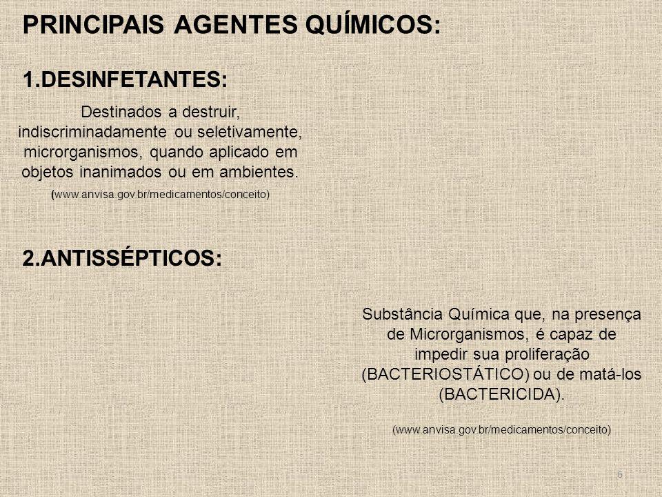 1.DESINFETANTES: 2.ANTISSÉPTICOS: Destinados a destruir, indiscriminadamente ou seletivamente, microrganismos, quando aplicado em objetos inanimados o