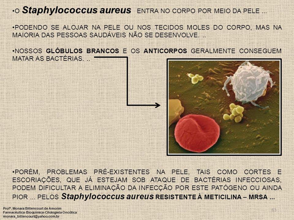 63 O Staphylococcus aureus ENTRA NO CORPO POR MEIO DA PELE... PODENDO SE ALOJAR NA PELE OU NOS TECIDOS MOLES DO CORPO, MAS NA MAIORIA DAS PESSOAS SAUD