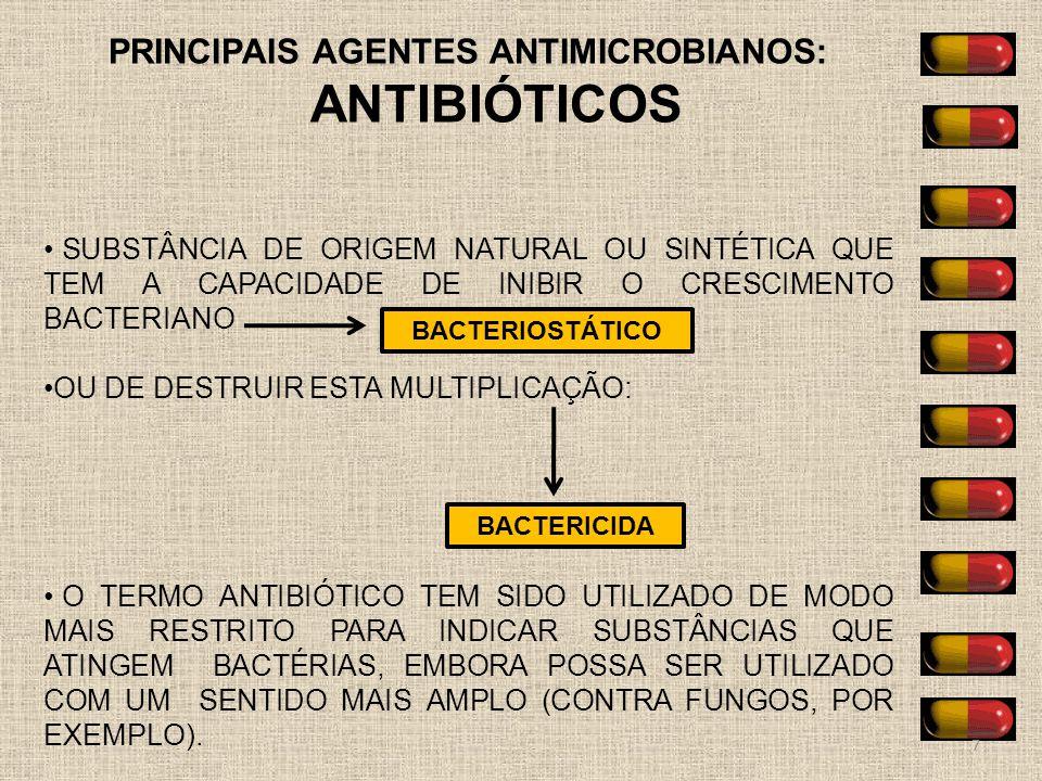 PRINCIPAIS AGENTES ANTIMICROBIANOS: ANTIBIÓTICOS SUBSTÂNCIA DE ORIGEM NATURAL OU SINTÉTICA QUE TEM A CAPACIDADE DE INIBIR O CRESCIMENTO BACTERIANO OU