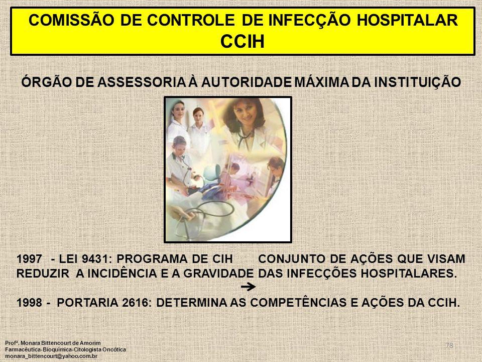 78 ÓRGÃO DE ASSESSORIA À AUTORIDADE MÁXIMA DA INSTITUIÇÃO COMISSÃO DE CONTROLE DE INFECÇÃO HOSPITALAR CCIH 1997 - LEI 9431: PROGRAMA DE CIH CONJUNTO D