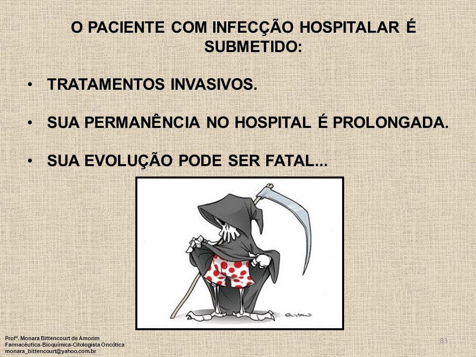 83 O PACIENTE COM INFECÇÃO HOSPITALAR É SUBMETIDO: TRATAMENTOS INVASIVOS. SUA PERMANÊNCIA NO HOSPITAL É PROLONGADA. SUA EVOLUÇÃO PODE SER FATAL... Pro