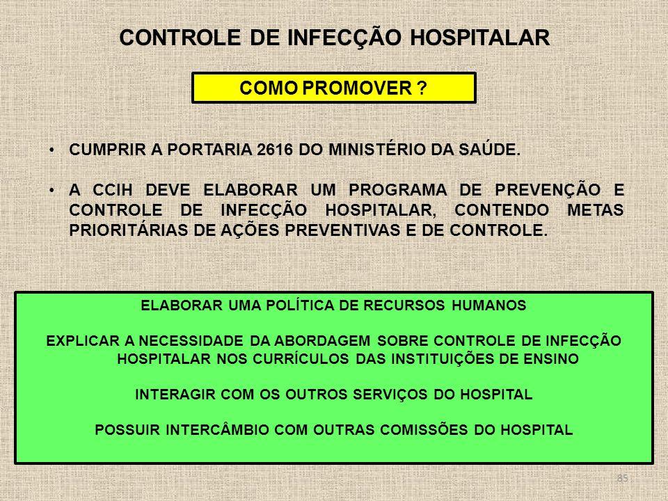 85 CONTROLE DE INFECÇÃO HOSPITALAR COMO PROMOVER ? CUMPRIR A PORTARIA 2616 DO MINISTÉRIO DA SAÚDE. A CCIH DEVE ELABORAR UM PROGRAMA DE PREVENÇÃO E CON