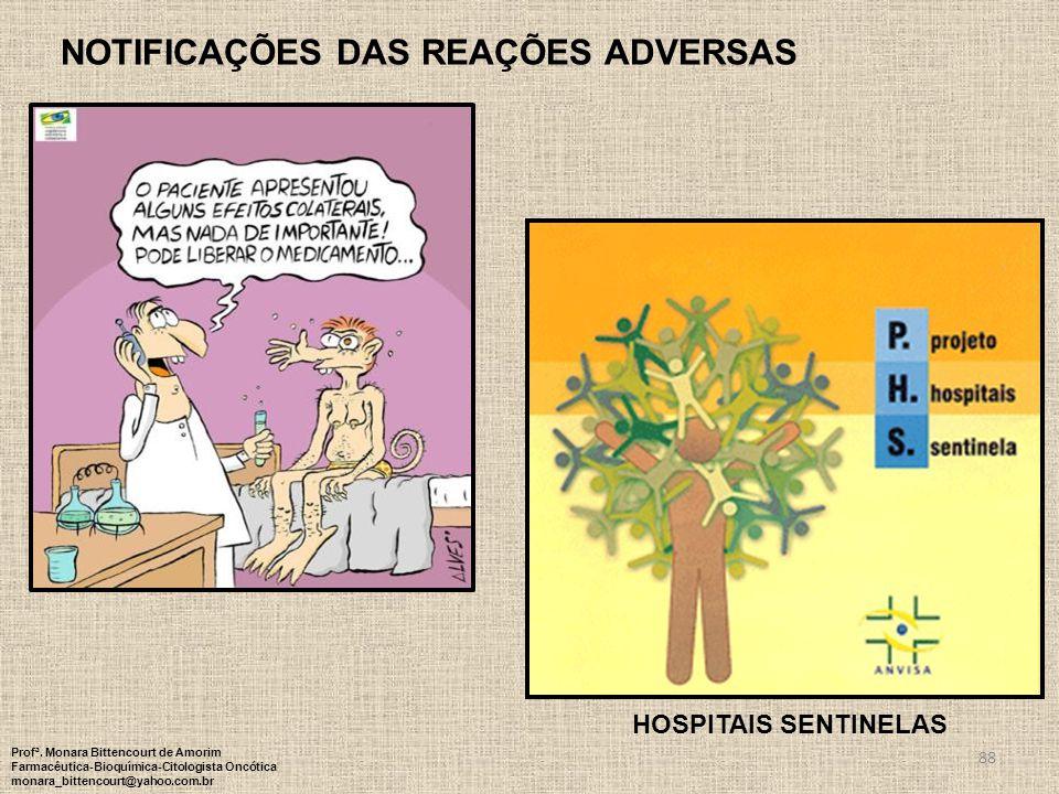 88 NOTIFICAÇÕES DAS REAÇÕES ADVERSAS HOSPITAIS SENTINELAS Profª. Monara Bittencourt de Amorim Farmacêutica-Bioquímica-Citologista Oncótica monara_bitt
