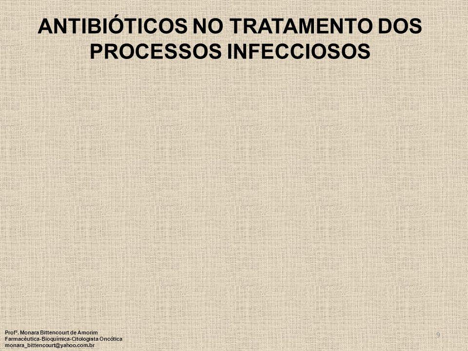 ANTIBIÓTICOS NO TRATAMENTO DOS PROCESSOS INFECCIOSOS 9 Profª. Monara Bittencourt de Amorim Farmacêutica-Bioquímica-Citologista Oncótica monara_bittenc