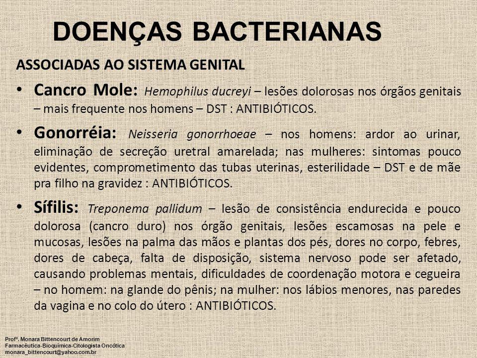 DOENÇAS BACTERIANAS ASSOCIADAS AO SISTEMA GENITAL Cancro Mole: Hemophilus ducreyi – lesões dolorosas nos órgãos genitais – mais frequente nos homens –