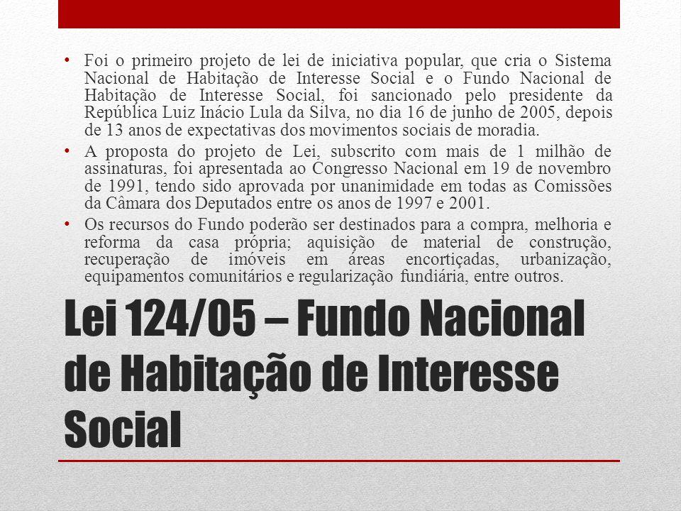 Lei 124/05 – Fundo Nacional de Habitação de Interesse Social Foi o primeiro projeto de lei de iniciativa popular, que cria o Sistema Nacional de Habit