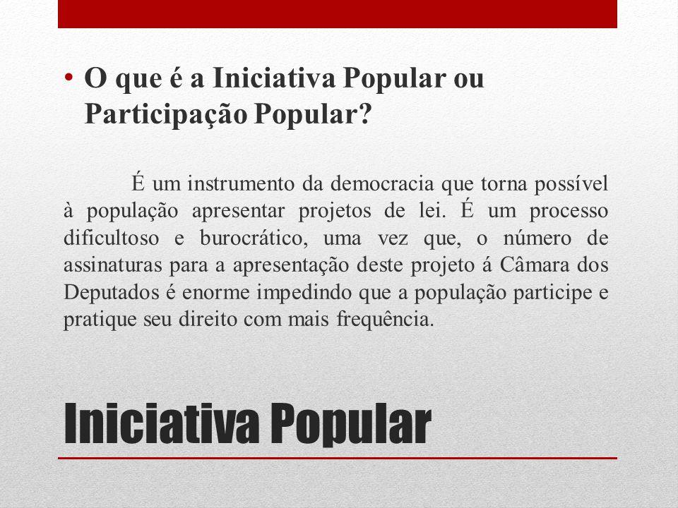 Iniciativa Popular O que é a Iniciativa Popular ou Participação Popular? É um instrumento da democracia que torna possível à população apresentar proj
