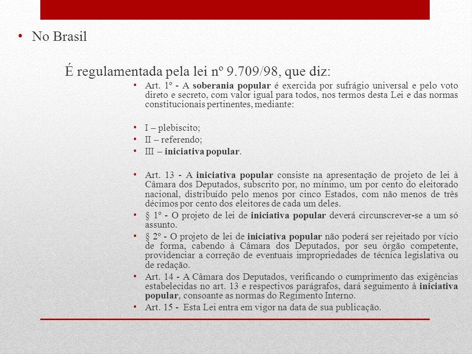 No Brasil É regulamentada pela lei nº 9.709/98, que diz: Art. 1º - A soberania popular é exercida por sufrágio universal e pelo voto direto e secreto,