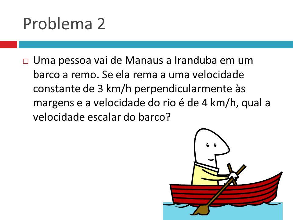 Problema 2 Uma pessoa vai de Manaus a Iranduba em um barco a remo. Se ela rema a uma velocidade constante de 3 km/h perpendicularmente às margens e a