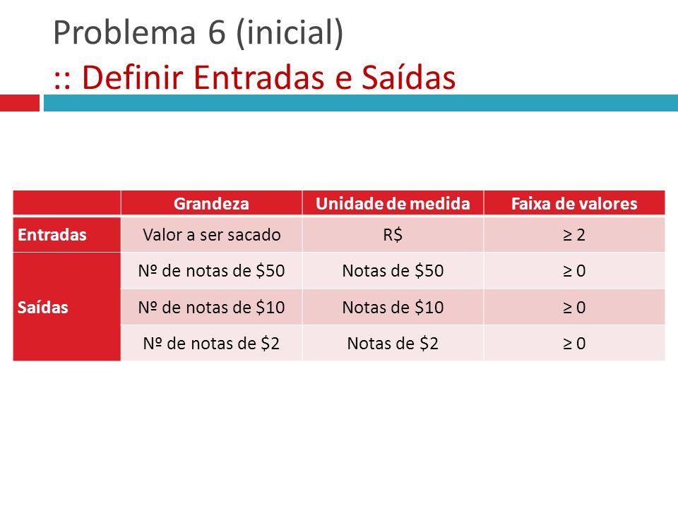 Problema 6 (inicial) :: Definir Entradas e Saídas GrandezaUnidade de medidaFaixa de valores Entradas Saídas GrandezaUnidade de medidaFaixa de valores