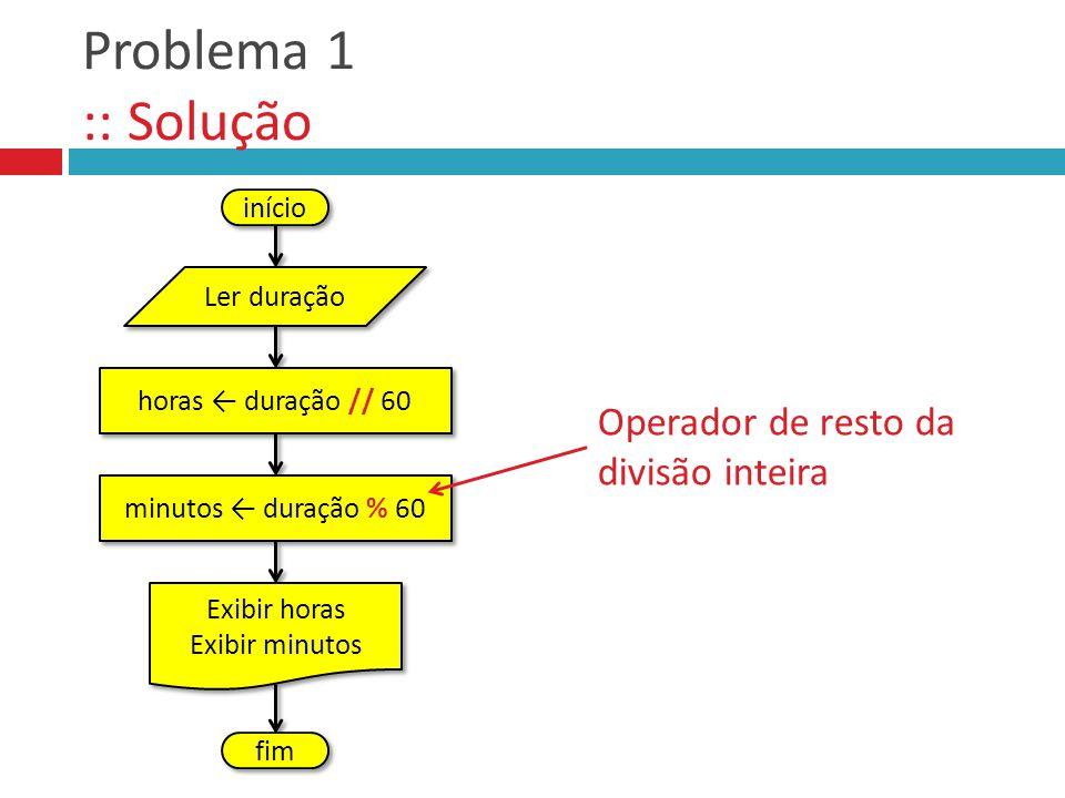 Problema 1 :: Solução início Operador de resto da divisão inteira