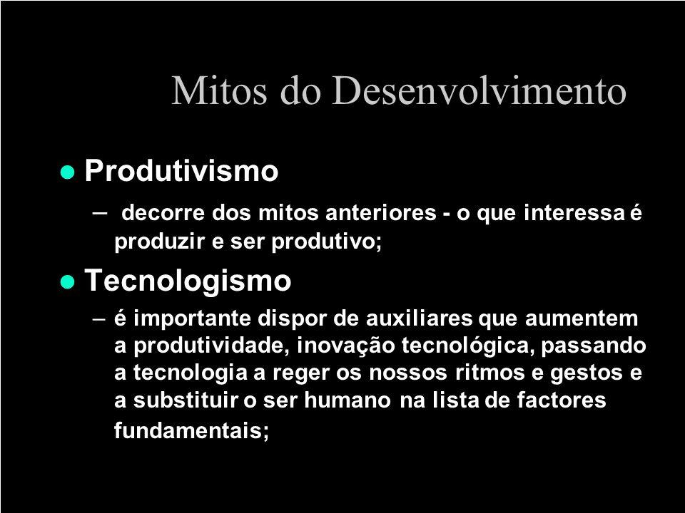 Mitos do Desenvolvimento Produtivismo – decorre dos mitos anteriores - o que interessa é produzir e ser produtivo; Tecnologismo –é importante dispor d