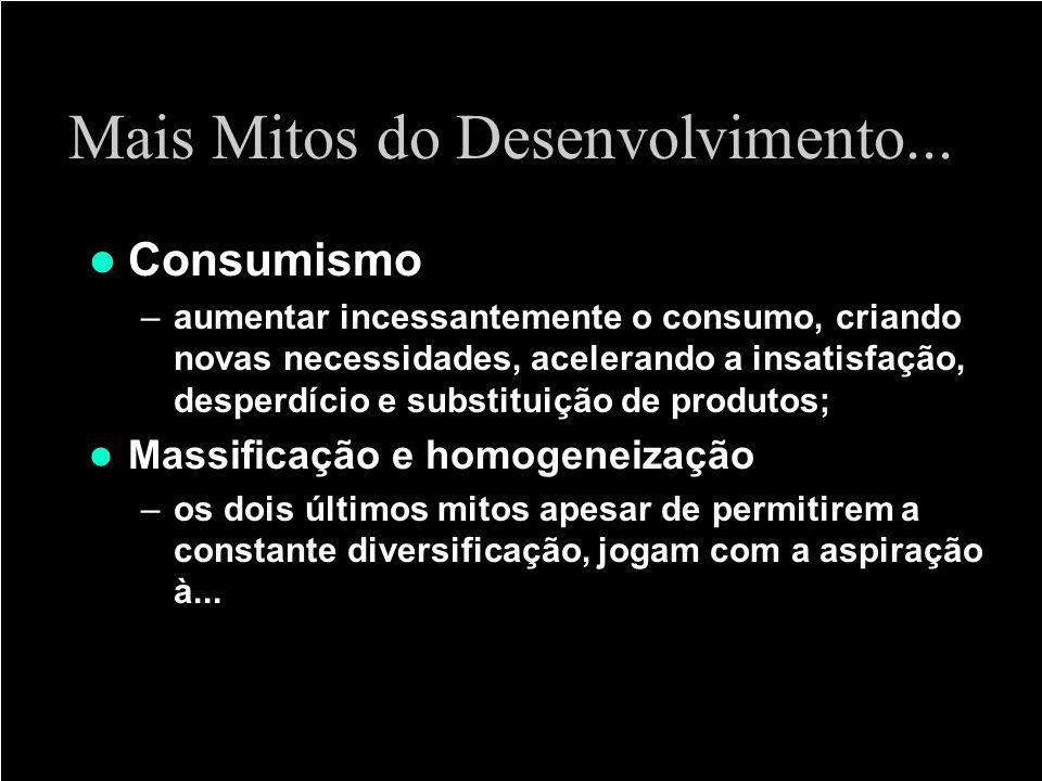 Mais Mitos do Desenvolvimento... Consumismo –aumentar incessantemente o consumo, criando novas necessidades, acelerando a insatisfação, desperdício e
