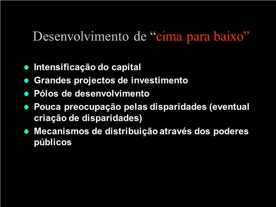 Desenvolvimento de cima para baixo Intensificação do capital Grandes projectos de investimento Pólos de desenvolvimento Pouca preocupação pelas dispar