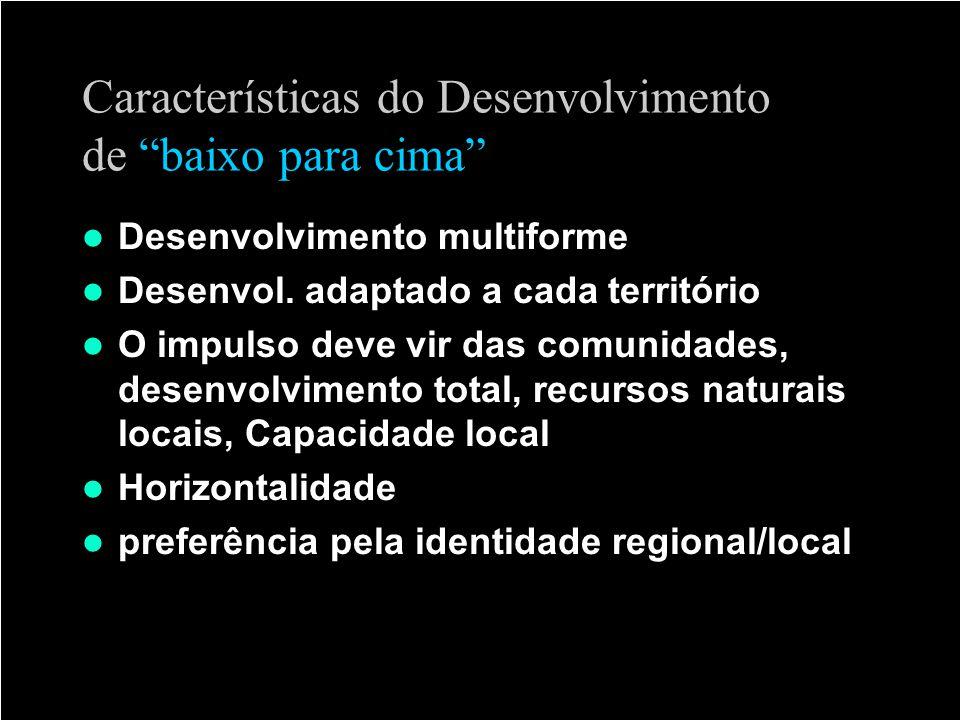 Características do Desenvolvimento de baixo para cima Desenvolvimento multiforme Desenvol. adaptado a cada território O impulso deve vir das comunidad