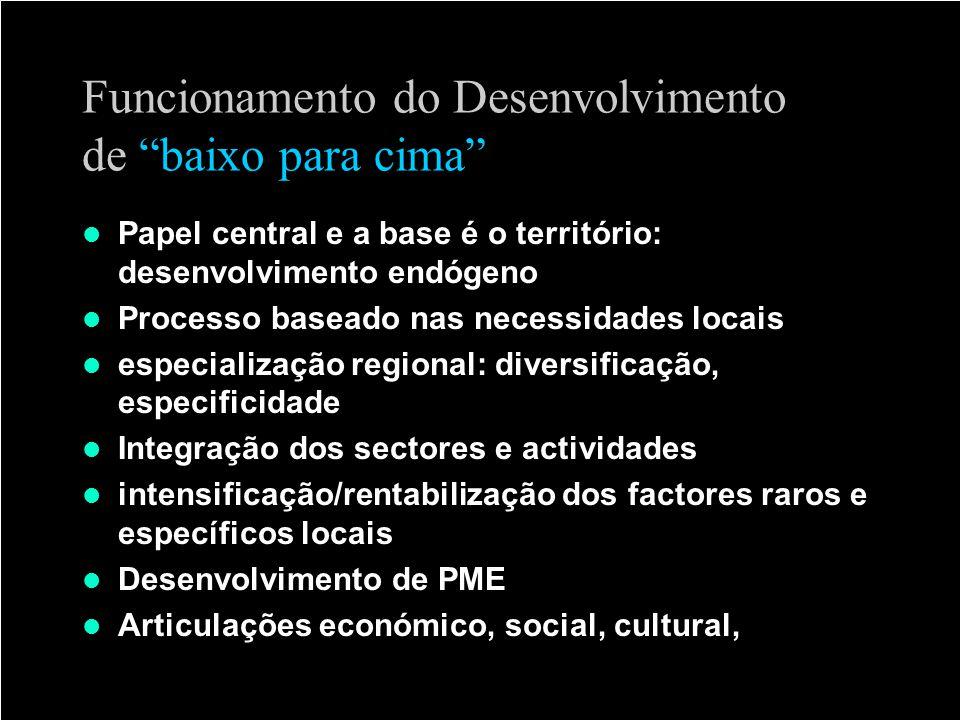 Funcionamento do Desenvolvimento de baixo para cima Papel central e a base é o território: desenvolvimento endógeno Processo baseado nas necessidades