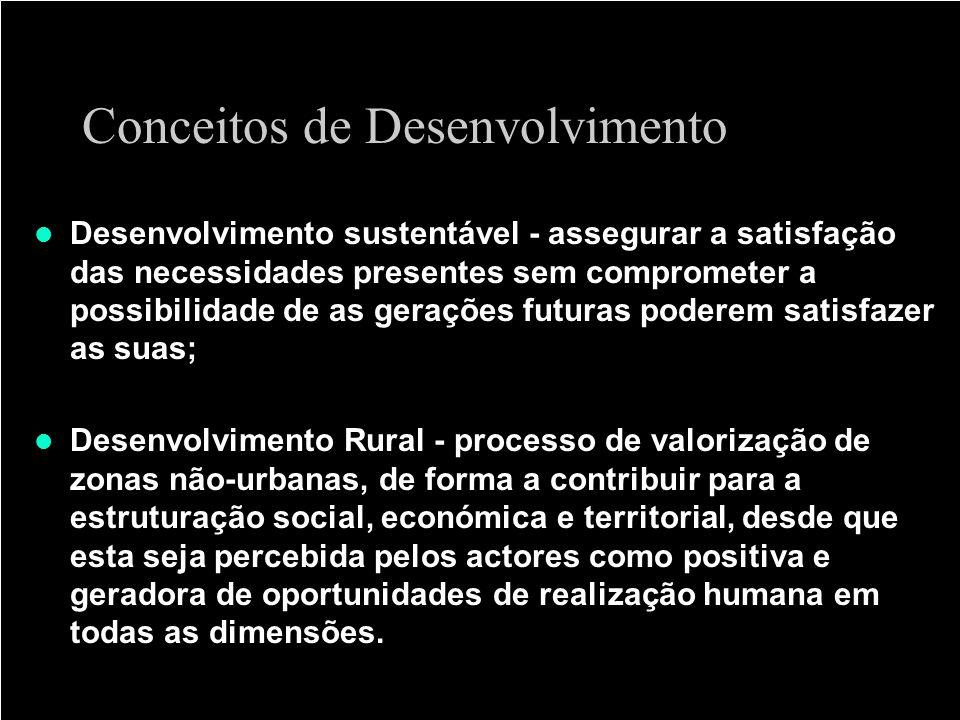 Conceitos de Desenvolvimento Desenvolvimento sustentável - assegurar a satisfação das necessidades presentes sem comprometer a possibilidade de as ger