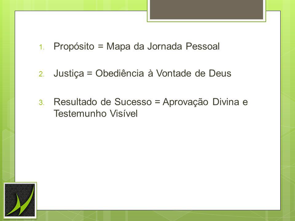 1.Propósito = Mapa da Jornada Pessoal 2. Justiça = Obediência à Vontade de Deus 3.