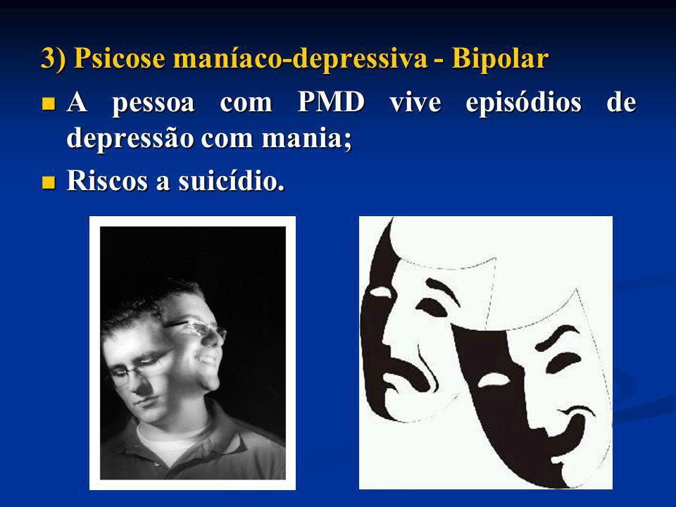 3) Psicose maníaco-depressiva - Bipolar A pessoa com PMD vive episódios de depressão com mania; A pessoa com PMD vive episódios de depressão com mania