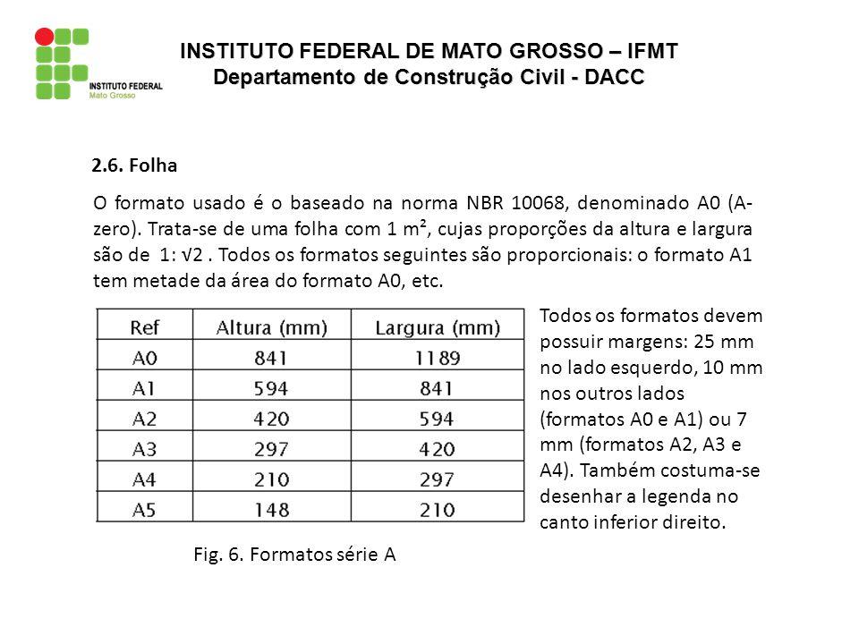Fig. 6. Formatos série A 2.6. Folha O formato usado é o baseado na norma NBR 10068, denominado A0 (A- zero). Trata-se de uma folha com 1 m², cujas pro