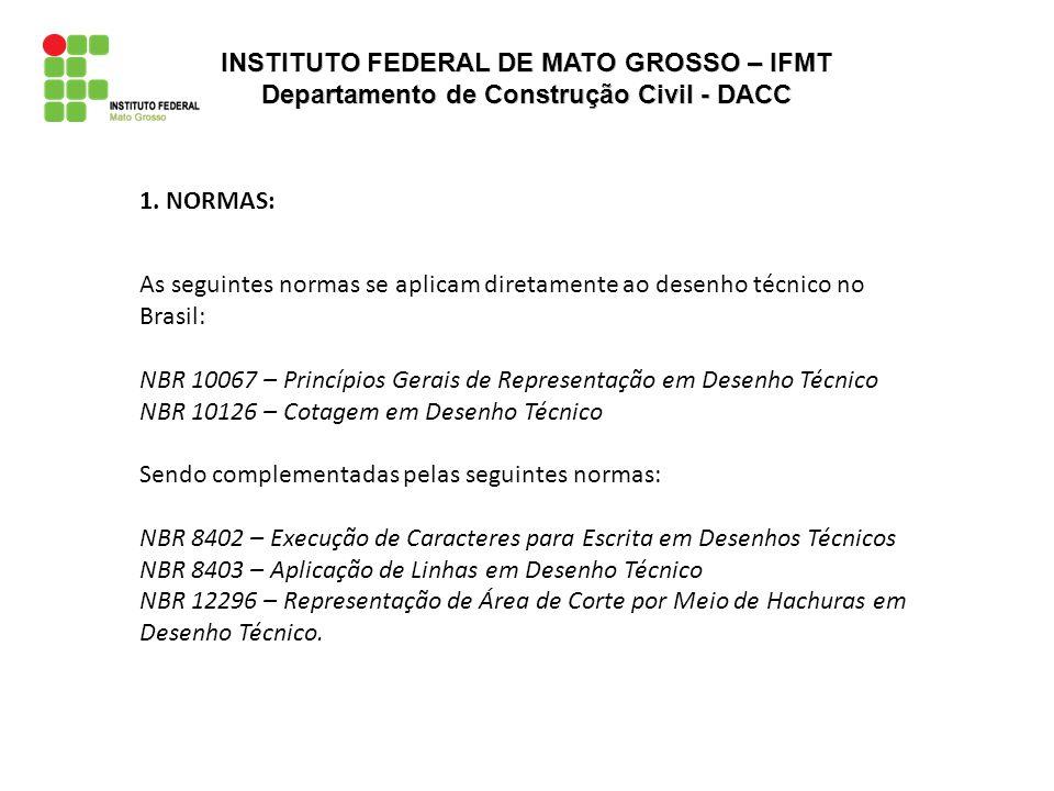 1. NORMAS: As seguintes normas se aplicam diretamente ao desenho técnico no Brasil: NBR 10067 – Princípios Gerais de Representação em Desenho Técnico