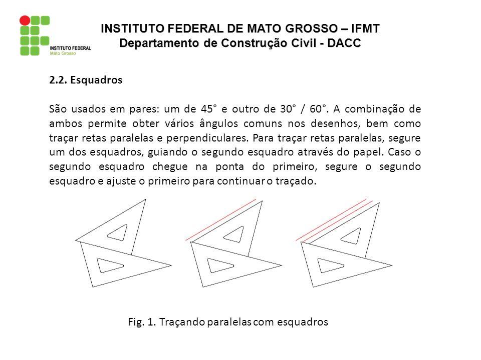 Fig.2. Traçando perpendiculares com esquadros 2.2.