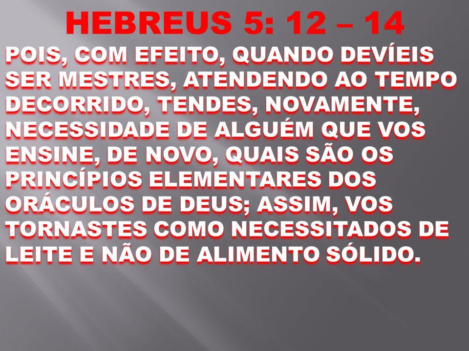 HEBREUS 5: 12 – 14 POIS, COM EFEITO, QUANDO DEVÍEIS SER MESTRES, ATENDENDO AO TEMPO DECORRIDO, TENDES, NOVAMENTE, NECESSIDADE DE ALGUÉM QUE VOS ENSINE