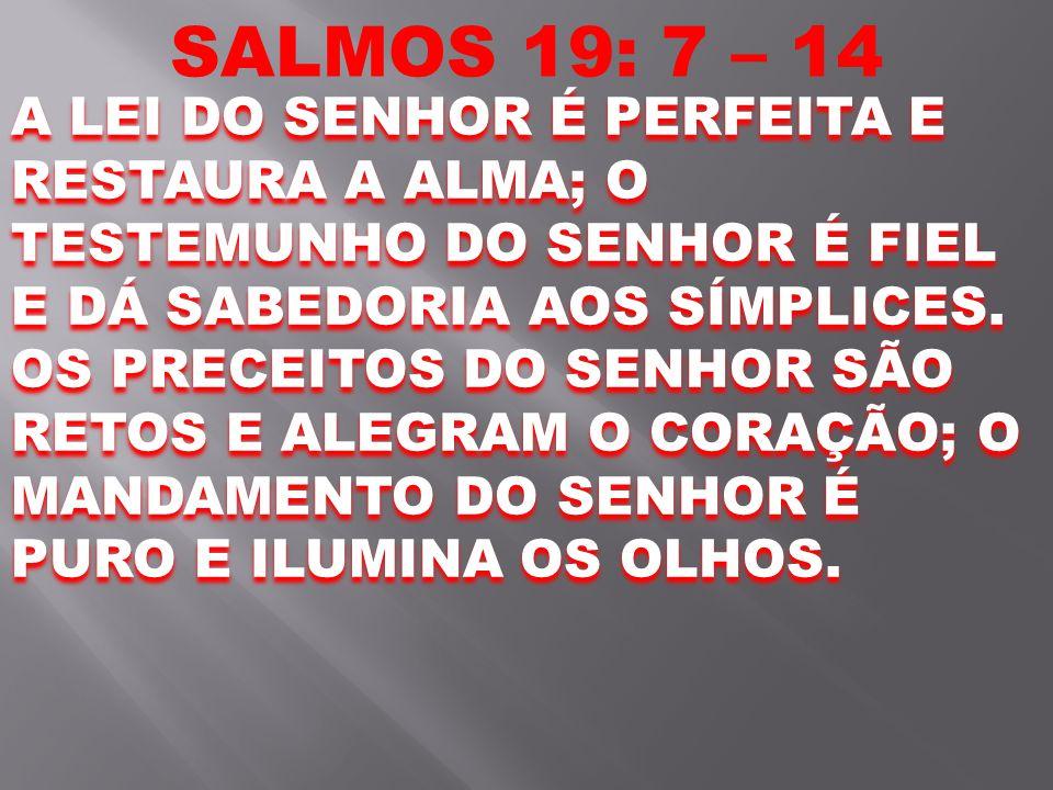 SALMOS 19: 7 – 14 A LEI DO SENHOR É PERFEITA E RESTAURA A ALMA; O TESTEMUNHO DO SENHOR É FIEL E DÁ SABEDORIA AOS SÍMPLICES. OS PRECEITOS DO SENHOR SÃO
