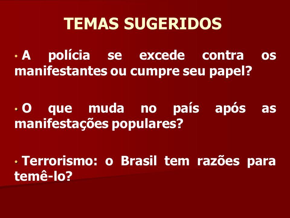 A polícia se excede contra os manifestantes ou cumpre seu papel? O que muda no país após as manifestações populares? Terrorismo: o Brasil tem razões p