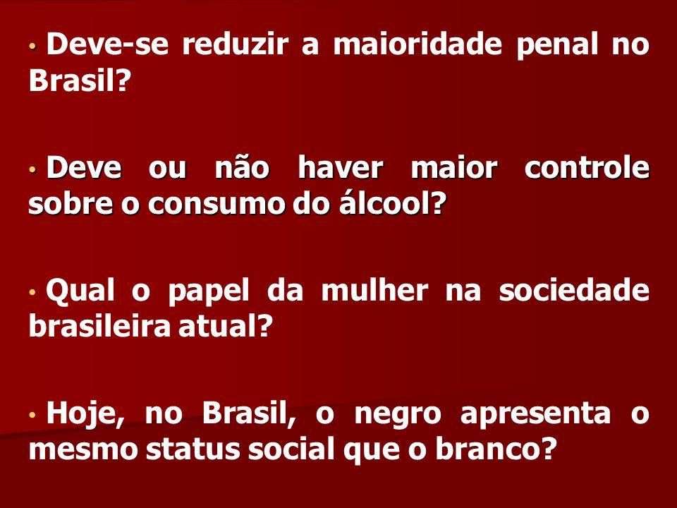 Deve-se reduzir a maioridade penal no Brasil? Deve ou não haver maior controle sobre o consumo do álcool? Deve ou não haver maior controle sobre o con