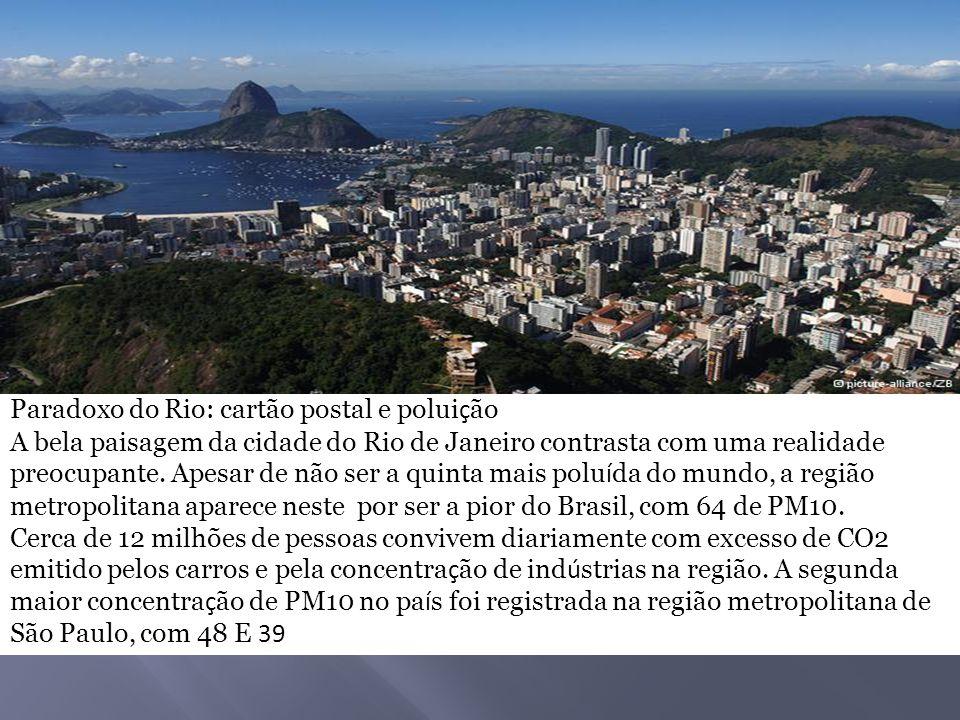 Paradoxo do Rio: cartão postal e polui ç ão A bela paisagem da cidade do Rio de Janeiro contrasta com uma realidade preocupante. Apesar de não ser a q